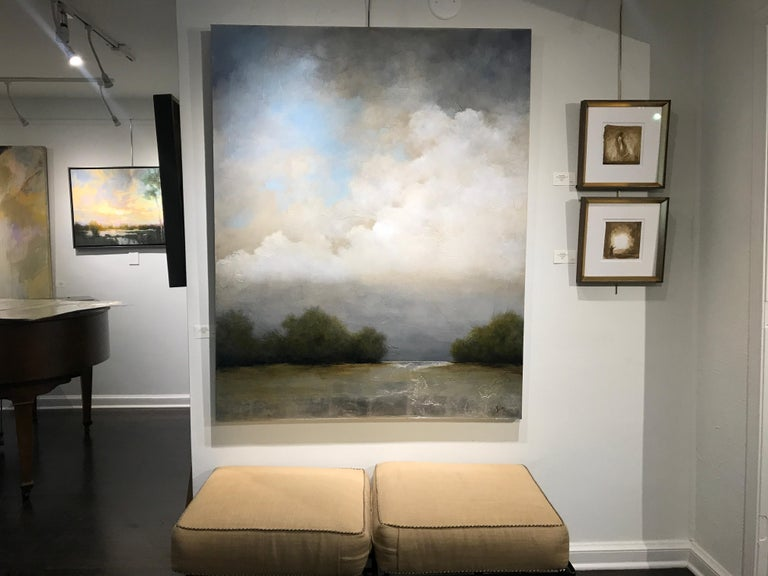 Summer Haze by Jim Seitz, Large Acrylic and Silver Leaf Landscape Painting For Sale 1