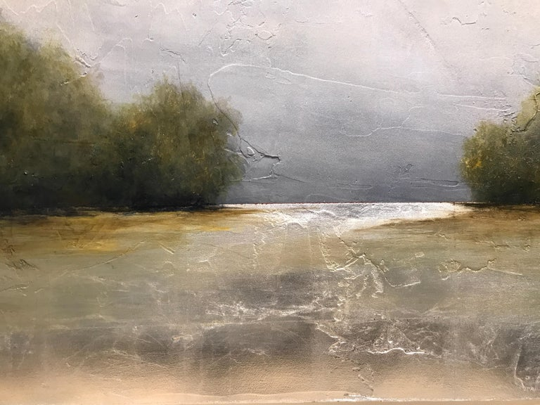 Summer Haze by Jim Seitz, Large Acrylic and Silver Leaf Landscape Painting For Sale 3