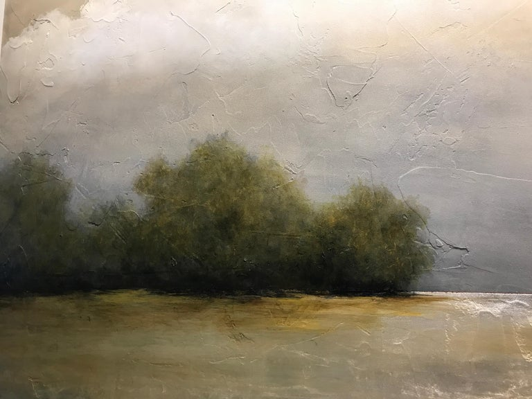 Summer Haze by Jim Seitz, Large Acrylic and Silver Leaf Landscape Painting For Sale 4