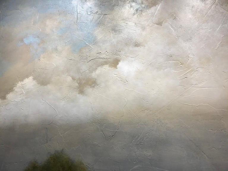 Summer Haze by Jim Seitz, Large Acrylic and Silver Leaf Landscape Painting For Sale 5
