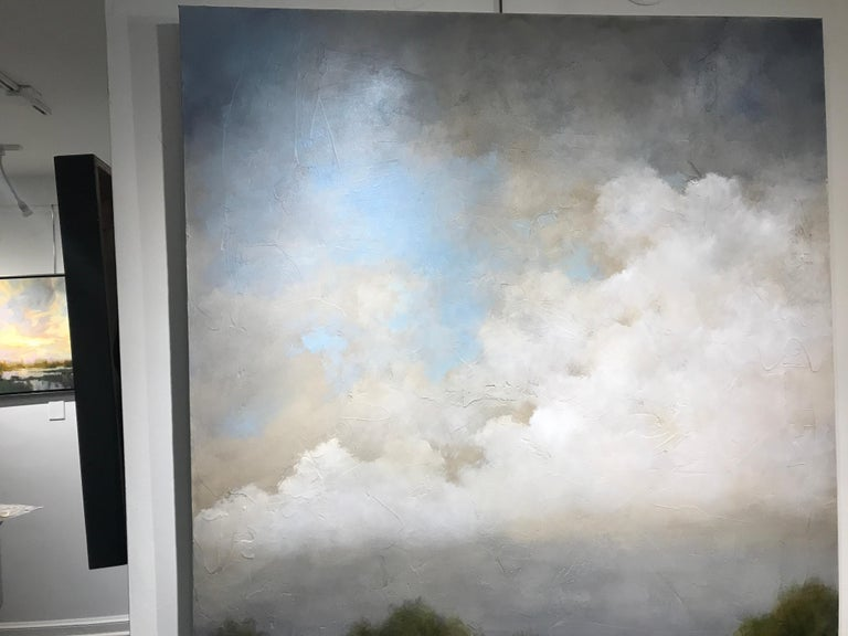 Summer Haze by Jim Seitz, Large Acrylic and Silver Leaf Landscape Painting For Sale 6