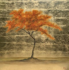 Sun in My Heart by Jim Seitz, Acrylic and Gold Leaf on Canvas Tree Painting