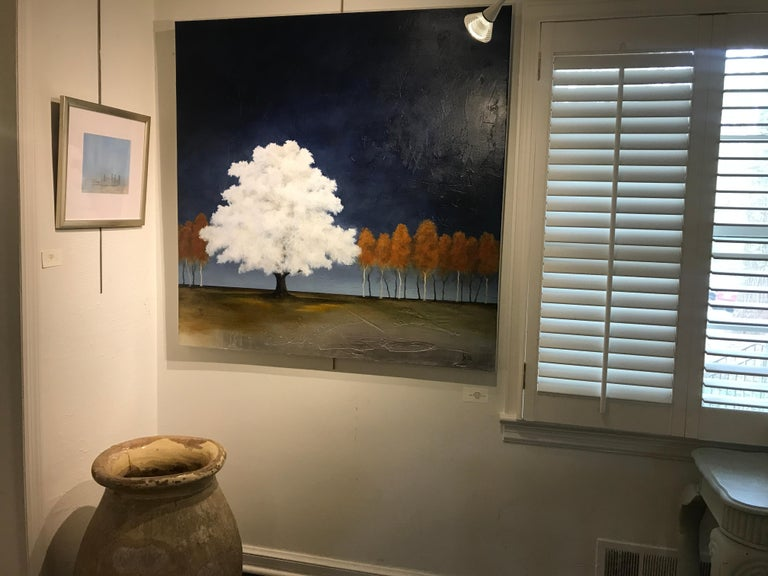 White as Snow by Jim Seitz, Acrylic and Silver leaf on Canvas Tree Painting For Sale 1