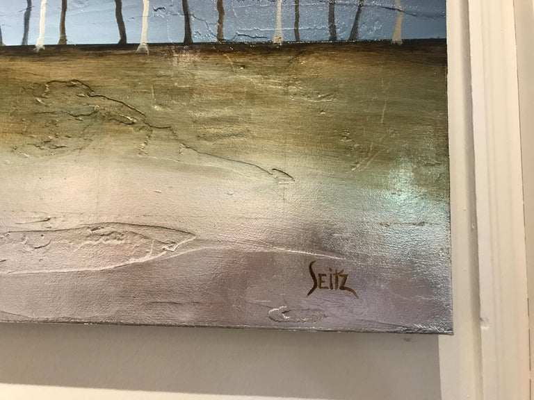White as Snow by Jim Seitz, Acrylic and Silver leaf on Canvas Tree Painting For Sale 2