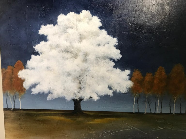 White as Snow by Jim Seitz, Acrylic and Silver leaf on Canvas Tree Painting For Sale 3