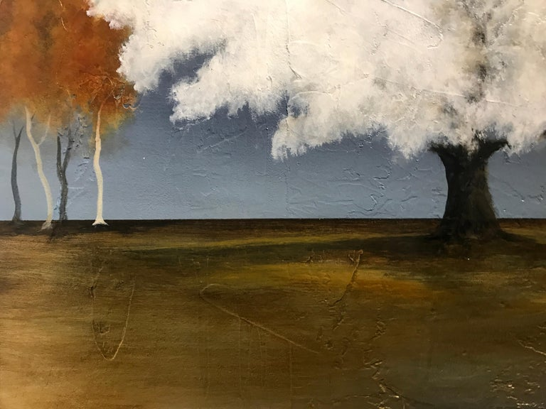 White as Snow by Jim Seitz, Acrylic and Silver leaf on Canvas Tree Painting For Sale 4