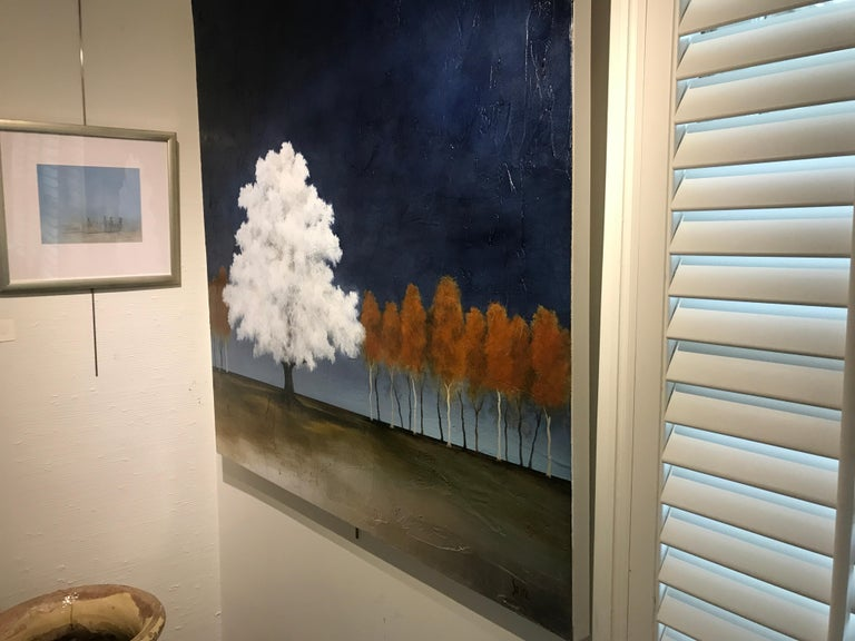 White as Snow by Jim Seitz, Acrylic and Silver leaf on Canvas Tree Painting For Sale 5