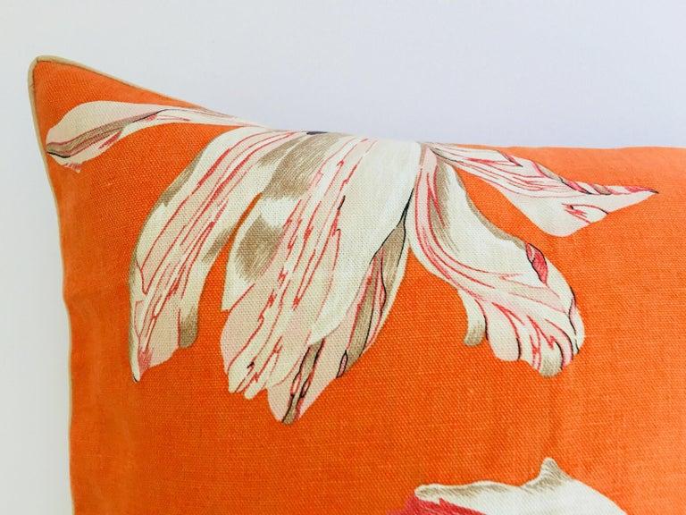 Modern Jim Thompson Orange Designer Decorative Pillow with Lotus Flower Print For Sale