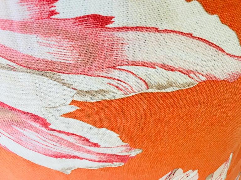 Thai Jim Thompson Orange Designer Decorative Pillow with Lotus Flower Print For Sale