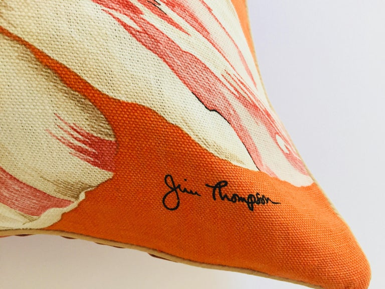 Jim Thompson Orange Designer Decorative Pillow with Lotus Flower Print In Excellent Condition For Sale In Los Angeles, CA
