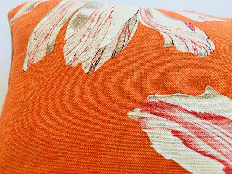 20th Century Jim Thompson Orange Designer Decorative Pillow with Lotus Flower Print For Sale