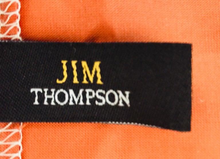 Linen Jim Thompson Orange Designer Decorative Pillow with Lotus Flower Print For Sale