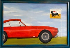 Ferrari GT LUSSO, original 30x46 pop art contemporary landscape