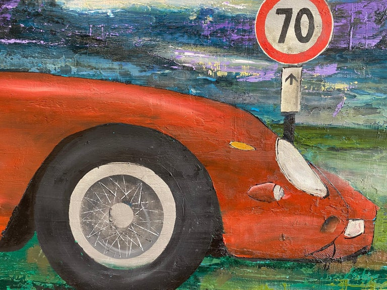 Ferrari GTO 250, original 30x40 contemporary pop art landscape  - Painting by Jim Twerell