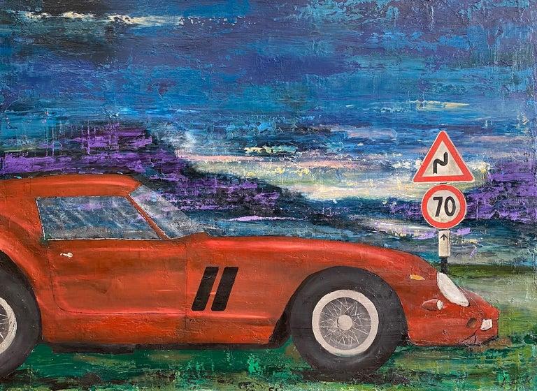 Jim Twerell Landscape Painting - Ferrari GTO 250, original 30x40 contemporary pop art landscape