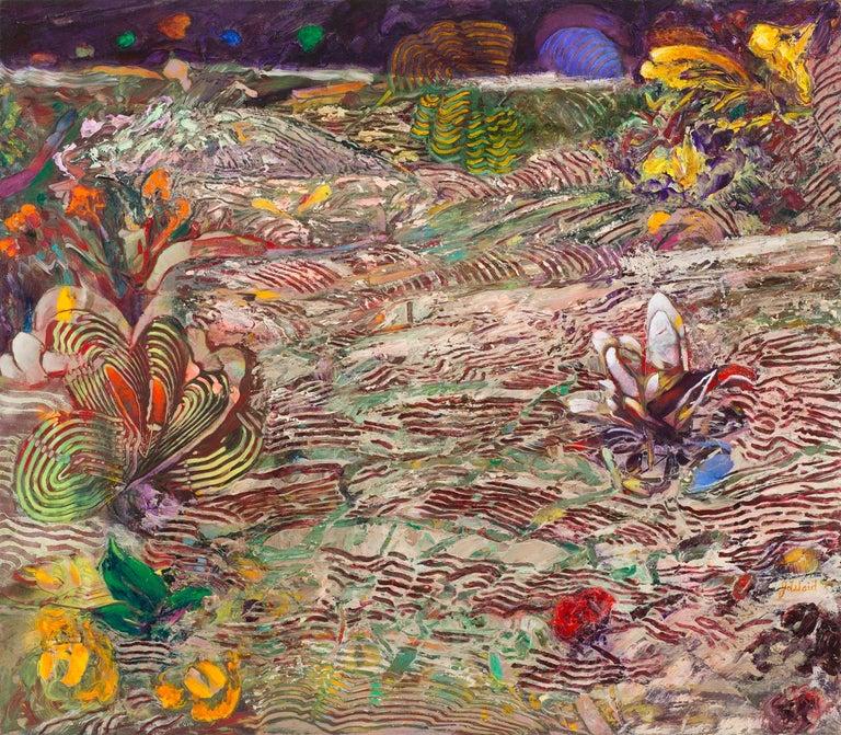 Jim Waid Landscape Painting - Dark Canyon, abstract landscape painting, flowers, plants, linear patterns