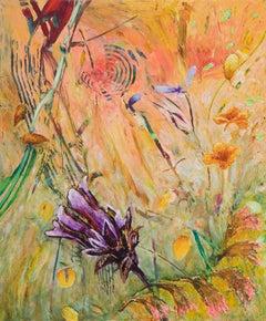 Early Morn, Jim Waid landscape painting, yellow, green, purple