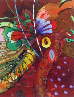 Fiesta, landscape painting,  Nature,brightly colored, red, abstract images