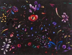 Night Vision, bold tropical colors and patterns on black, abstract painting