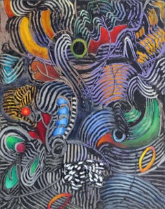 Parrot, bold tropical colors and patterns, abstract painting