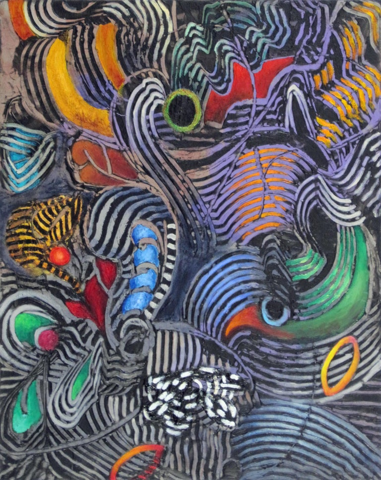 Jim Waid Abstract Painting - Parrot, bold tropical colors and patterns, abstract painting