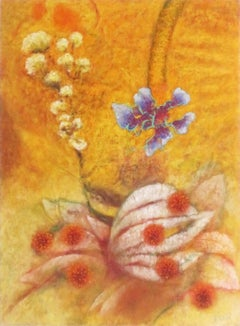 "Landscape painting, yellow, ""Persian Berry,"" nature, flowers, sunlight"
