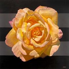 """Mandala for Creativity"" - floral painting, stripes, realism - Georgia O'Keeffe"