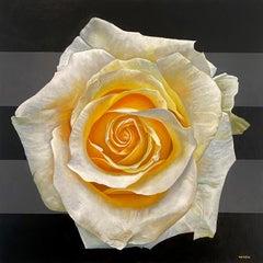 """Mandala for Wisdom"" - floral painting - stripes - realism - Georgia O'Keeffe"