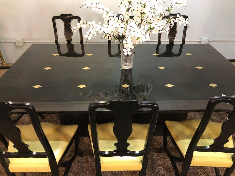 Mid-Century Modern Jimeco Parchment Dining Conference Table Goatskin Brass Inlaid Enrique Garcel For Sale