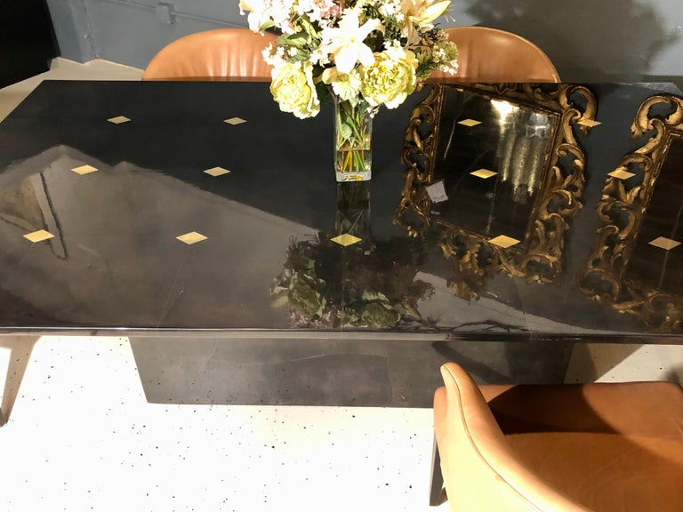 Colombian Jimeco Parchment Dining Conference Table Goatskin Brass Inlaid Enrique Garcel For Sale