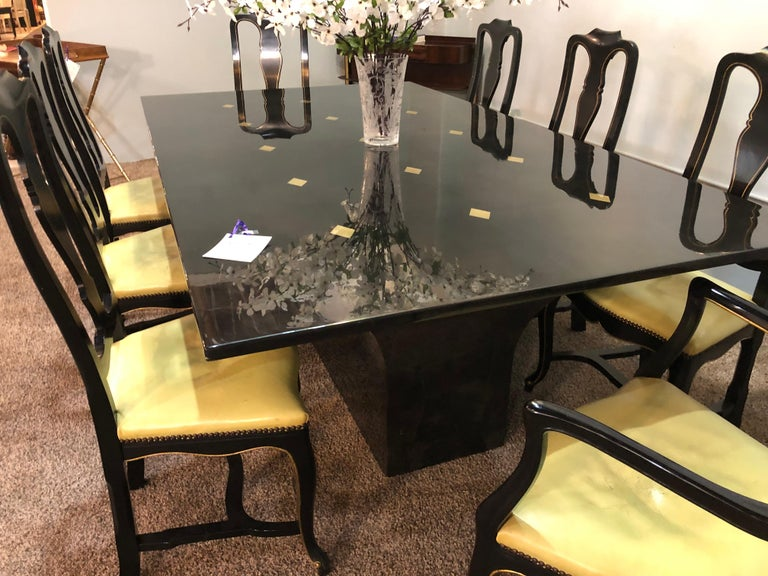 Jimeco Parchment Dining Conference Table Goatskin Brass Inlaid Enrique Garcel In Good Condition For Sale In Stamford, CT