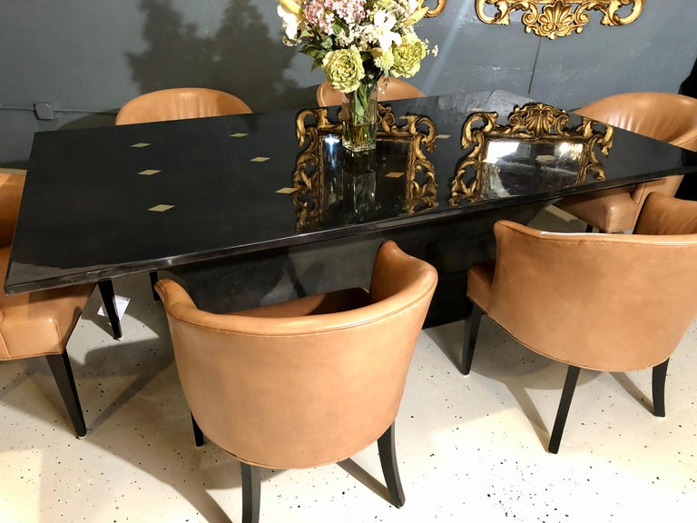 20th Century Jimeco Parchment Dining Conference Table Goatskin Brass Inlaid Enrique Garcel For Sale