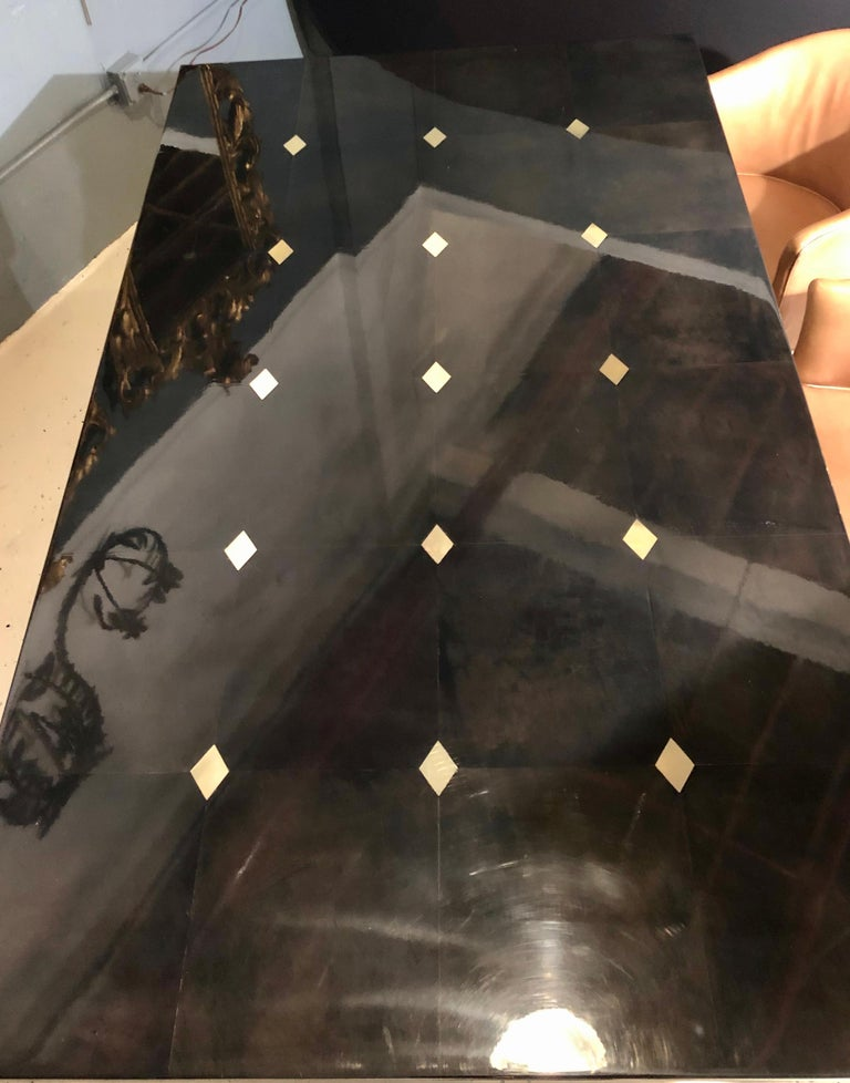 Jimeco Parchment Dining Conference Table Goatskin Brass Inlaid Enrique Garcel For Sale 2