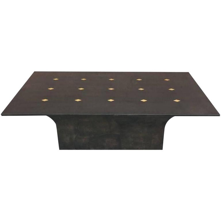 Jimeco Parchment Dining Conference Table Goatskin Brass Inlaid Enrique Garcel For Sale