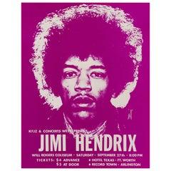 Jimi Hendrix Original Vintage Concert Handbill Poster, Ft. Worth, Texas, 1969
