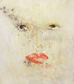 Demure - Modern Minimalist Female Portrait, Drip-Painted Abstract Feminine Art