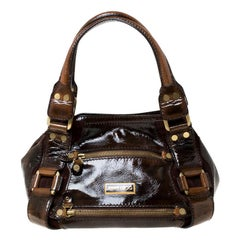 Jimmy Choco Brown Patent Leather and Suede Mahala Satchel