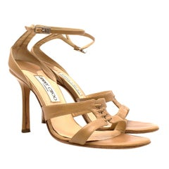 Jimmy Choo 100mm Nude Leather Laced Sandals IT 39