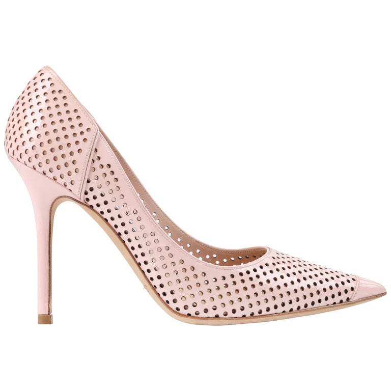 """JIMMY CHOO """"Abel"""" Blush Pink Perforated Patent Leather Pointed Toe Pumps For Sale"""