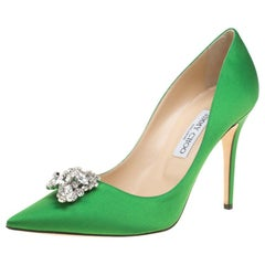 Jimmy Choo Apple Green Satin Manda Crystal Embellished Pointed Toe Pumps Size 41