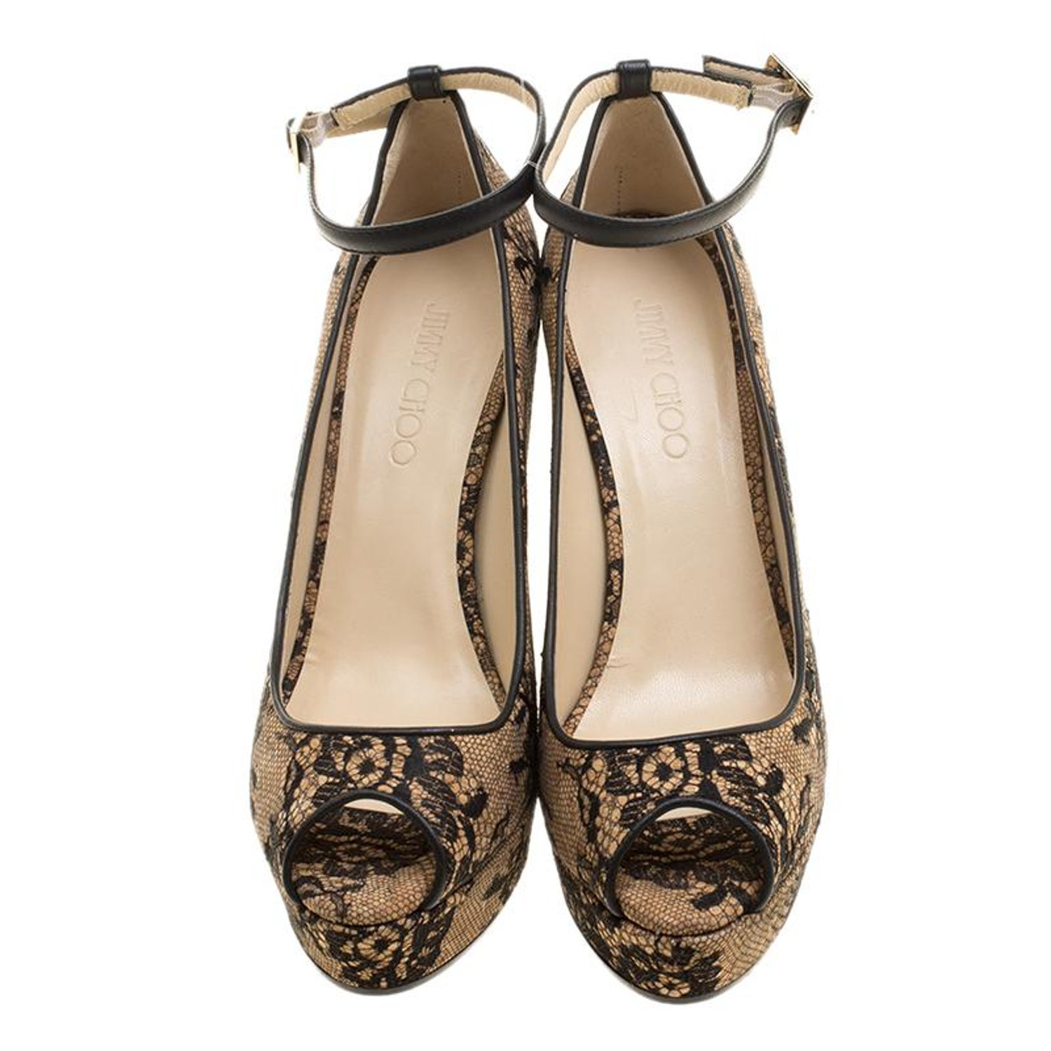 4ab7869991 Jimmy Choo Beige Cork and Lace Pacific Peep Toe Ankle Strap Wedge Pumps  Size 41 For Sale at 1stdibs