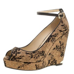 Jimmy Choo Beige Cork and Lace Pacific Peep Toe Ankle Strap Wedge Pumps Size 41