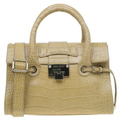 Jimmy Choo Beige Croc Embossed Leather Small Rosalie Top Handle Bag