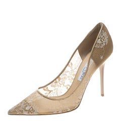 Jimmy Choo Beige Lace and Patent Leather Abel Pointed Toe Pumps Size 41
