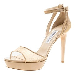 Jimmy Choo Beige Lace and Patent Leather Ankle Strap Platform Sandals Size 40.5