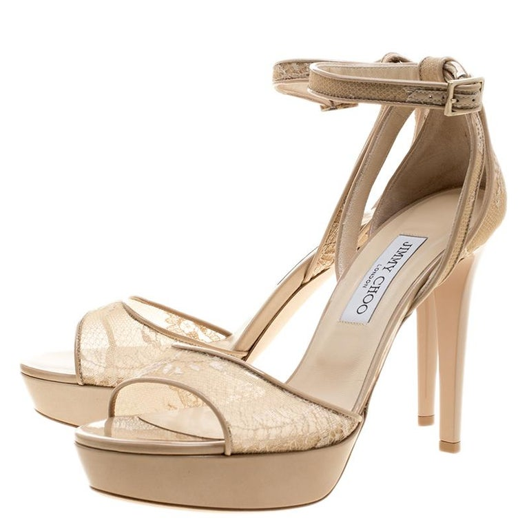 Women's Jimmy Choo Beige Lace and Patent Leather Kayden Ankle Strap Platform Sandals Siz For Sale