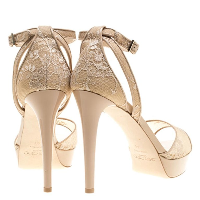 Jimmy Choo Beige Lace and Patent Leather Kayden Ankle Strap Platform Sandals Siz For Sale 1