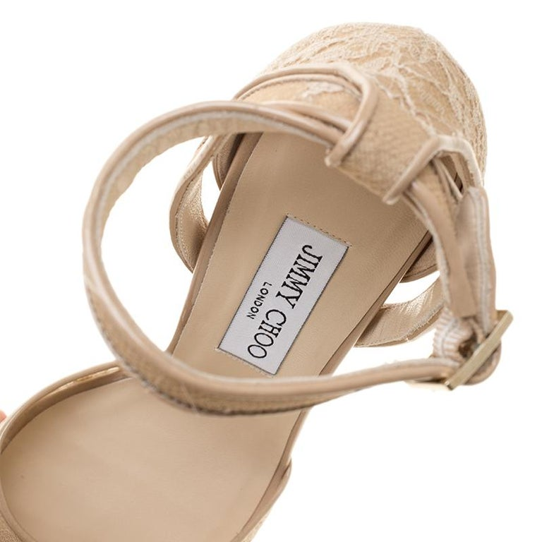 Jimmy Choo Beige Lace and Patent Leather Kayden Ankle Strap Platform Sandals Siz For Sale 3