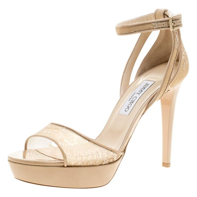 Jimmy Choo Beige Lace and Patent Leather Kayden Ankle Strap Platform Sandals Siz For Sale
