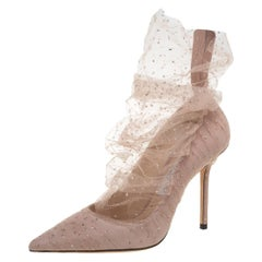 Jimmy Choo Beige Lace And Suede Lavish Pointed Toe Pumps Size 38